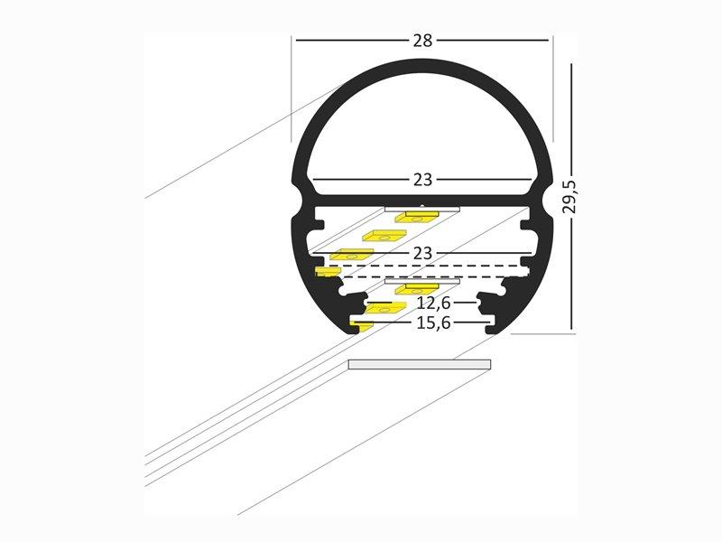 Aluminum profile for LED strip OVAL