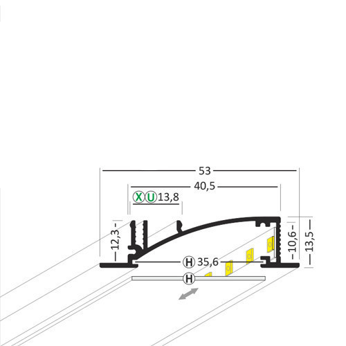 Alumīnija profils LED lentām FLAT