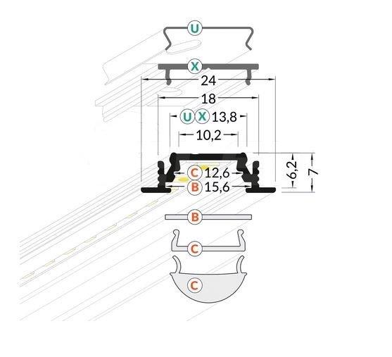 Alumīnija profils LED Lentām GROOVE10