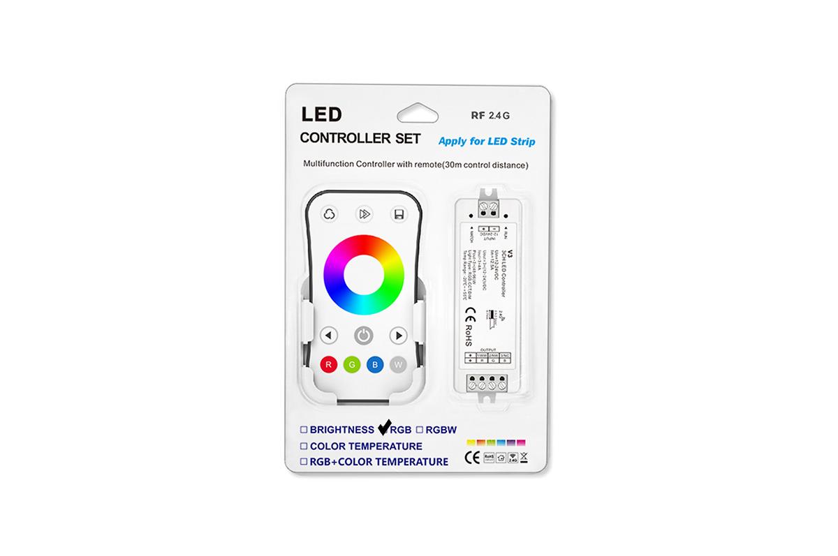 Bezvadu dimmējama pults ar kontrolieri RGB RF