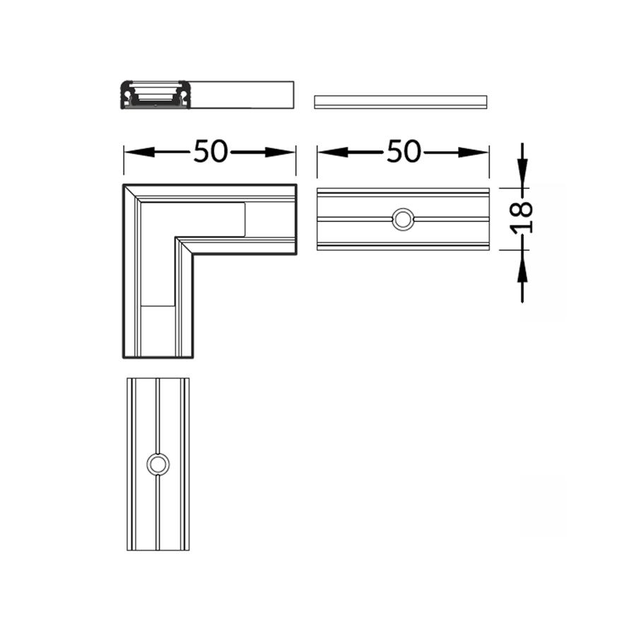 90° stūra savienojums LED Lentu profilam