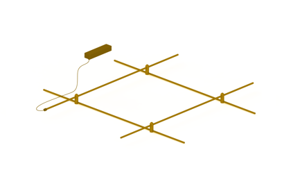 Suspended Magnetic Modular LED Light system AIP-CUBE BRASS
