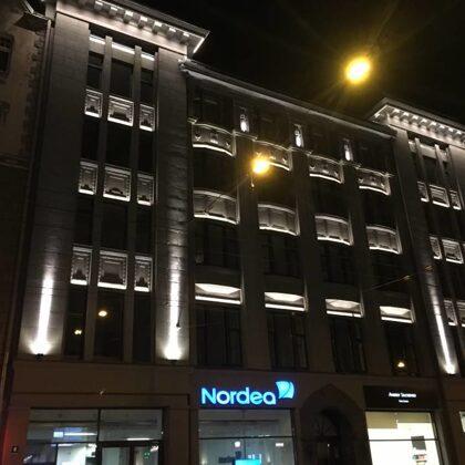 Fasādes apgaismojums Tērbatas 4, Rīga